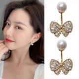 S925银针韩国东大门水钻小巧蝴蝶结珍珠简约气质耳钉