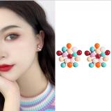 S925银针韩国时尚彩色短款网红洋气个性气质新款耳环耳钉