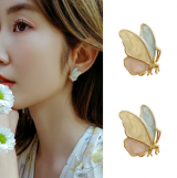 S925银针韩国淡紫色蝴蝶可爱小巧夏季小清新百搭立体耳饰耳钉