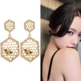 S925银针韩国时尚潮流蜜蜂气质百搭镶钻蜂窝高级感耳钉耳饰