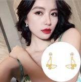 S925银针韩国超仙蝴蝶新款潮简约气质小耳钉