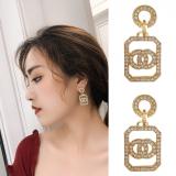 S925银针韩国镂空四方框耳环2020年新款潮流百搭闪钻圆形耳钉