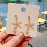 S925银针韩国黄色花朵可爱小鸟新款潮气质耳钉