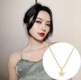 韩国小众品牌设计感猫眼五瓣花ins简约气质精致锁骨链颈链