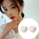 S925银针韩国气质网红高级感珍珠爱心满钻2020新款耳钉耳饰