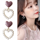 S925银针韩国镂空爱心珍珠甜美气质滴油桃心耳钉