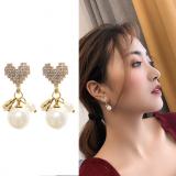 S925银针韩国满钻爱心满钻珍珠气质甜美潮流高级感耳饰耳钉女