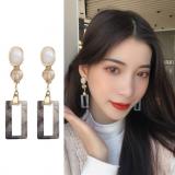 S925银针韩国气质简约长款少女心甜美个性耳钉