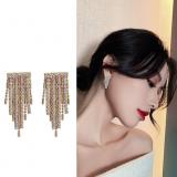 S925银针韩国一帘幽梦闪钻链条流苏设计感时尚个性耳钉