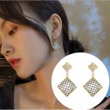 S925银针韩国2020年新款潮菱形波点简约仙气复古耳钉女