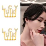 S925银针 韩国LUCKY幸运通勤2020新款网红气质耳钉