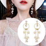 S925银针韩国超仙珍珠花朵气质简约个性百搭长款吊坠耳钉