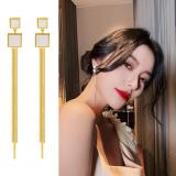 S925银针韩国方块流苏网红长款气质耳钉