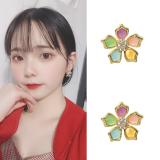 S925银针韩国时尚个性五色花气质百搭网红耳钉