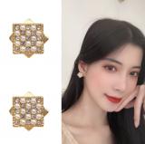 S925银针韩国几何方形镶钻气质简约小众珍珠双层气质耳钉