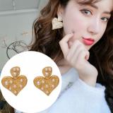 S925银针韩国个性时尚潮新款创意桃心镶珍珠耳钉