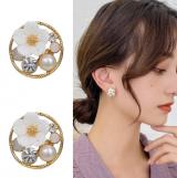 S925银针韩国气质小清新花朵个性超仙珍珠文艺复古耳钉