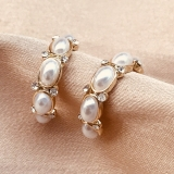 S925银针韩国2020新款潮气质珍珠C型圆圈珍珠气质网红耳钉