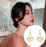 【真金电度】S925银针韩国三角珍珠新款气质简约微镶小巧耳钉