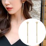S925银针韩国时尚星星流苏长款链条耳冷淡风气质耳钉