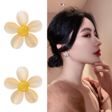 S925银针韩国ins潮小众设计感猫眼花朵气质网红简约冷淡风耳钉耳饰耳环