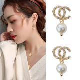 S925银针韩国东大门简约珍珠小香风气质百搭镶钻高级感网红耳钉耳饰