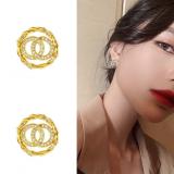 S925银针韩国双圈耳钉通勤网红时尚百搭高级感满钻耳钉