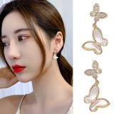 S925银针韩国新款蝴蝶日韩气质温柔网红高级感耳钉