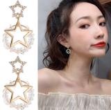 S925银针韩国时尚网红星星水晶气质个性简约冷淡风耳钉耳环女