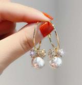 S925银针韩国满钻蝴蝶结珍珠吊坠气质百搭高级感耳圈耳环女