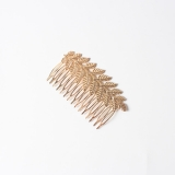 韩国新款树叶女士流海梳盘发发夹顶夹发卡【金色】