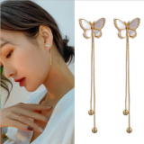 S925银针韩国少女心白色蝴蝶流苏个性时尚长款气质网红耳钉