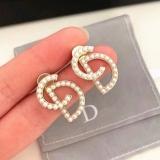 S925银针韩国珍珠CD字母后挂式气质简约百搭明星同款个性耳钉