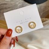 S925银针韩国简约小巧气质高级感精致水晶小耳钉耳环