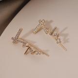 韩国简约几何网红小巧新款高级感交叉镶钻气质通勤耳环