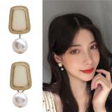S925银针韩国金属高级感几何涂釉珍珠个性百搭少女耳钉