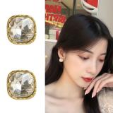 S925银针韩国气质简约方形闪亮个性ins风甜美小巧耳钉