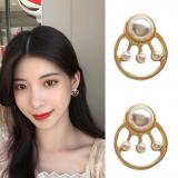 S925银针韩国气质简约几何圆圈珍珠个性甜美超仙少女耳环耳钉