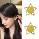 S925银针韩国气质复古镂空五角星笑脸个性简约超仙耳钉女