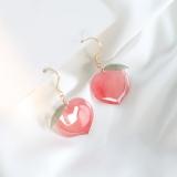S925银耳钩韩国人间水蜜桃甜甜的粉色桃子可爱亚克力耳环