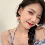 S925银针韩国可爱美少女百搭水蜜桃气质新款耳钉