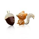 S925银针韩国创意趣味小松鼠与松果不对称简约网红少女耳钉耳饰