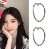 S925银针韩国简约半圆弯曲弧度耳环港风气质小巧少女耳钉