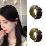 S925银针韩国甜美个性唯美滴油气质简约撞色小清新耳钉