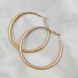 S925银针韩国个性夸张哑光金色大圈圈气质简约长款耳圈网红耳扣