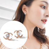 S925银针韩国高级感小香风双c款潮小巧气质简约耳钉
