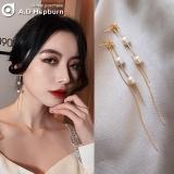 S925银针韩国显脸瘦的流苏珍珠气质长款网红耳钉