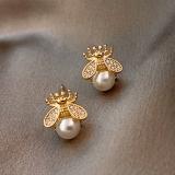 S925银针韩国简约小巧小众个性小蜜蜂珍珠2020年新款耳钉女