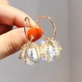 S925银针韩国网红轻奢珍珠闪钻高级感流苏气质耳钉