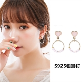 S925银针韩国气质简约冷淡风爱心珍珠小巧显脸瘦的耳饰品